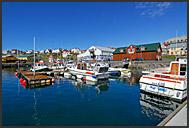 Gamli baukur restaurant in Husavik Harbor, North Iceland