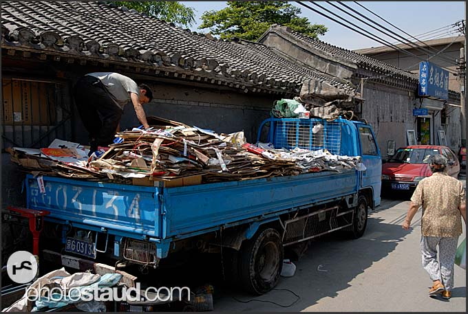 Garbage collection in the Hutong of Beijing, China