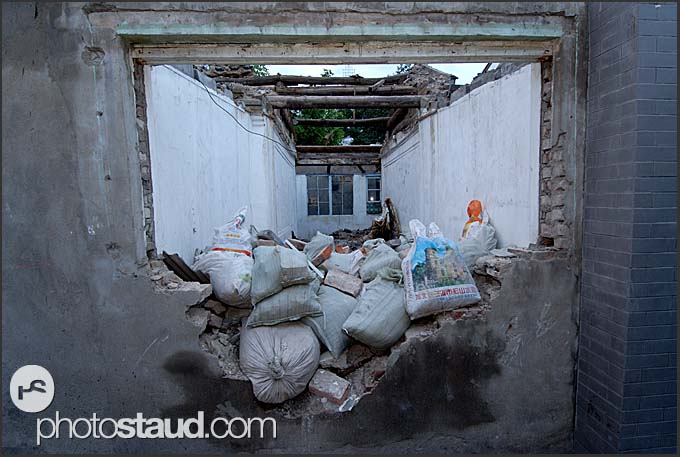 Old buildings of Hutong being demolished in Beijing China