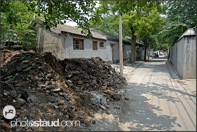 Old buildings being demolished in Hutong, Beijing, China