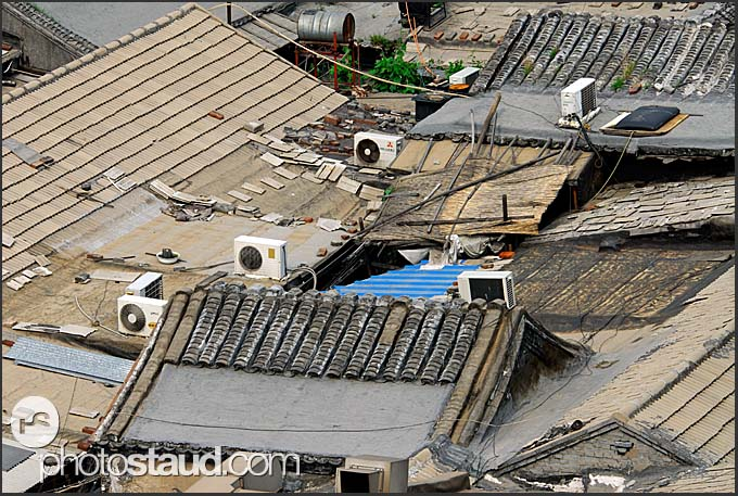Derelict roofs in Beijing Hutong near the Drum Tower viewed from above, China