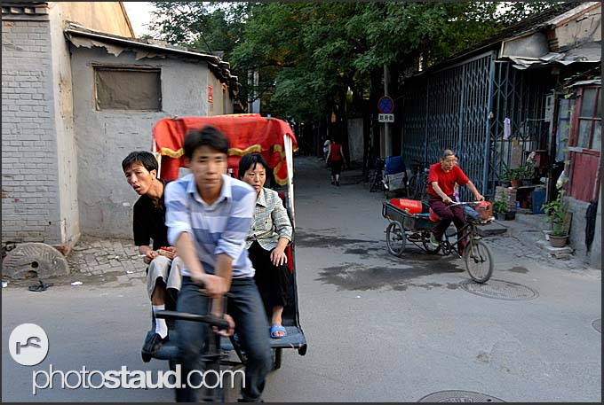 Rickshaws in the old streets of Beijing Hutong, China