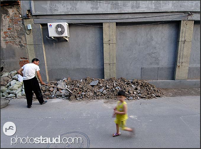 Construction work in the Hutong of Beijing, China