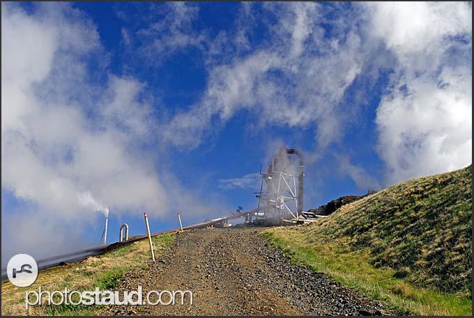 Geothermal power plant steaming in Hveragerdi, Iceland