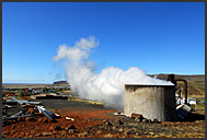 High-pressure steam pipes distributing heat from geothermal power plant, Hveragerdi, Iceland