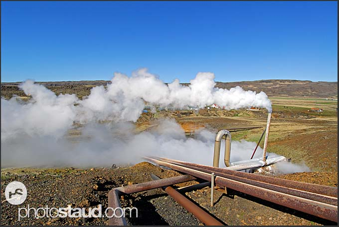 Geothermal power plant steaming in the landscape of Hveragerdi, Iceland