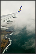 Passenger view from Iceland Air liner flying above Iceland