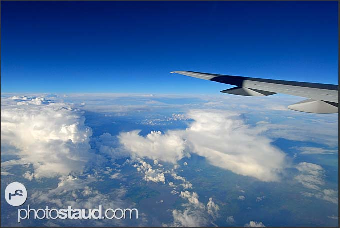 Passenger view from aircraft flying above Iceland