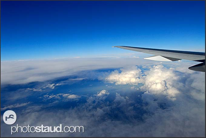 Passenger view from aeroplane flying above Iceland