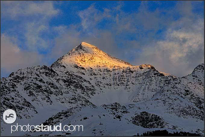 Mount Pizzo Tresero in the Italian Alps illuminated by evening sun, Italy, Europe