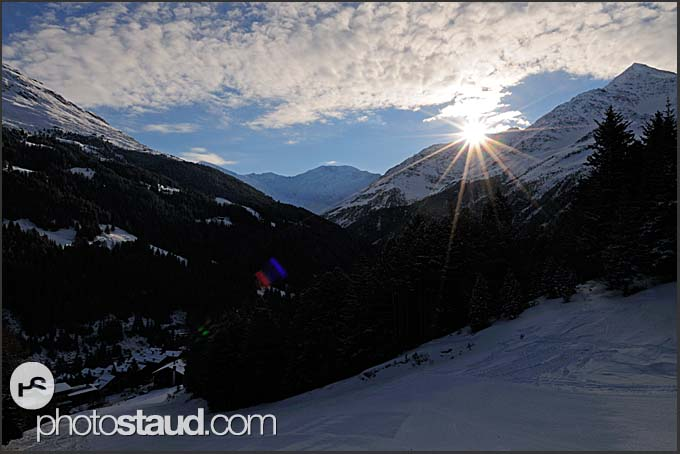 Ski slopes at St Caterina at sunrise, Italy, Europe