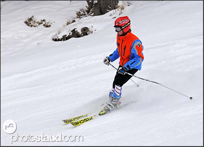 Skier on the slopes of St Caterina, Italy, Europe