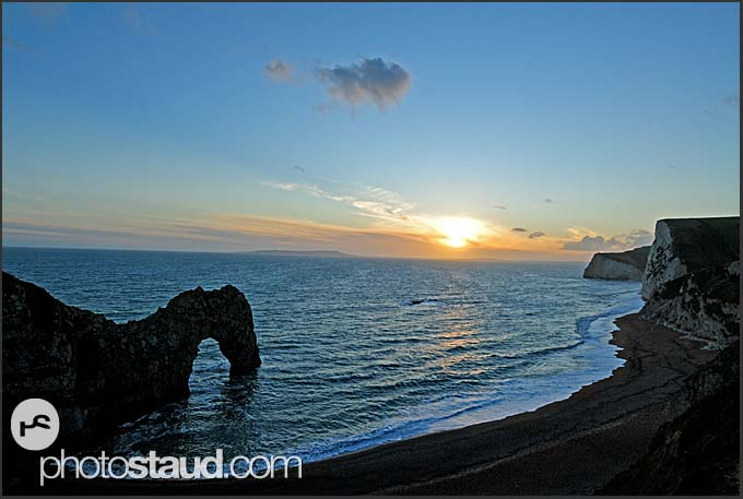 Sunset at Durdle Door, the chalk cliffs of Bat's Head and Swyre Head, Jurassic Coast World Heritage, Dorset, England, Europe