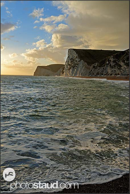 Twilight on Jurassic coast, chalk cliffs of Bat's Head and Swyre Head, Dorset, England, Europe