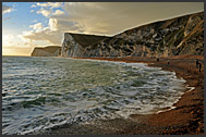 Beach and white chalk cliffs on the Jurassic coast, Dorset, England, Europe