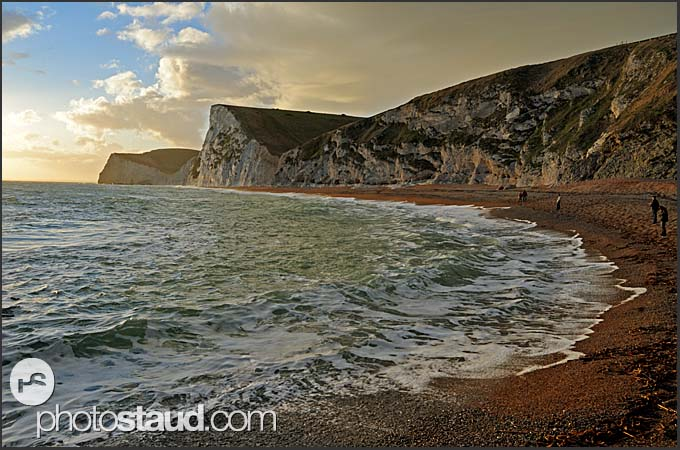 Beach and chalk cliffs on the Jurassic coast, Dorset, England, Europe