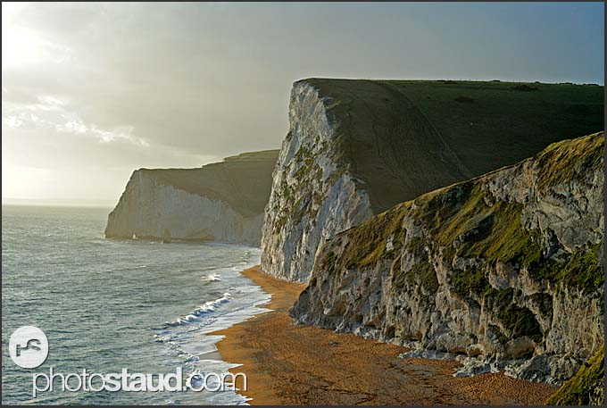 Dreamy landscape of Southern England, Bat's Head and Swyre Head, Jurassic Coast World Heritage site, Dorset, England, Europe