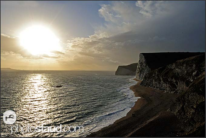 Sunset near Bat's Head and Swyre Head on Jurassic Coast World Heritage site, Dorset, England, Europe