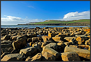 Boulders on the beach near Kimmeridge, Jurassic Coast World Heritage site, Dorset, England, Europe