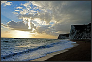Surf, clouds and chalk cliffs on the Jurassic Coast, World Heritage site, Dorset, England, Europe