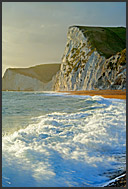 Surf and chalk cliffs on the Jurassic Coast, World Heritage site, Dorset, England, Europe