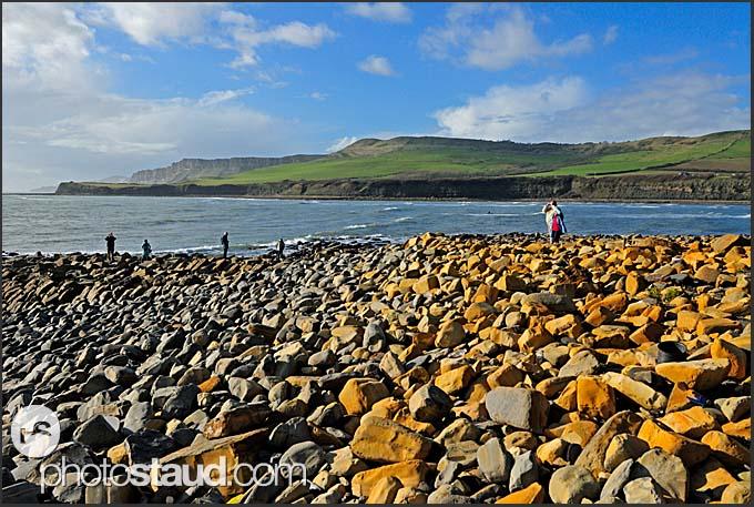 Boulders on the beach near Kimmeridge, Jurassic Coast World Heritage site, Dorset, England, Europe