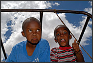 Little Kenyan boys making funny faces, Maralal, Northern Kenya