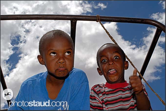 Little Kenyan boys making funny faces, Maralal, Northern Kenya