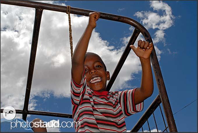 Little Kenyan Kenyan boys making funny faces, Maralal, Northern Kenya