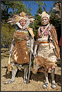 Kikuyu dancers wearing traditional costumes, Kenya