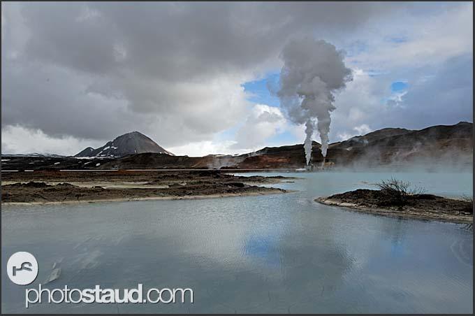 Volcanic landscape near Krafla geothermal power plant, Iceland