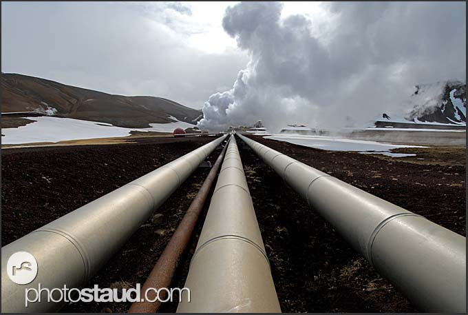 Insulated high pressure steam pipelines from boreholes to turbines at Krafla geothermal power plant, Iceland
