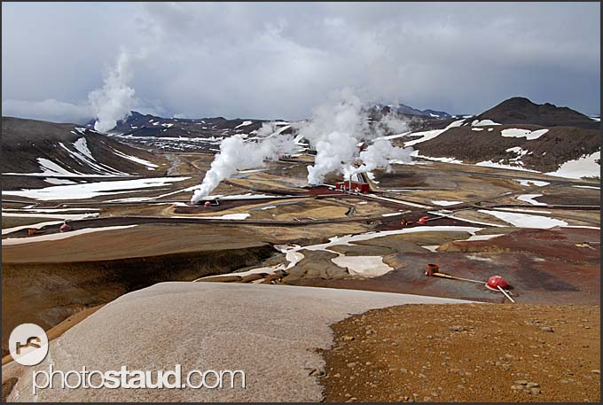 Volcanic landscape - Krafla geothermal power plant viewed from nearby mountains, Iceland