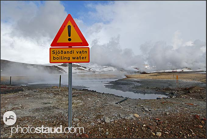 Boiling water sign at Krafla geothermal power plant, Iceland
