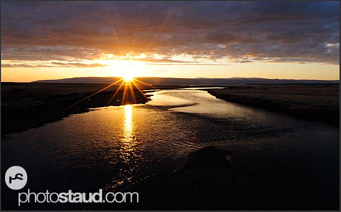 Sunset in the landscape of north east Iceland