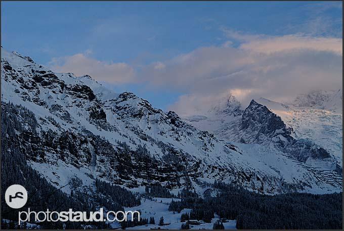 Winter Alpine landscape, Lauterbrunnen, Switzerland, Europe