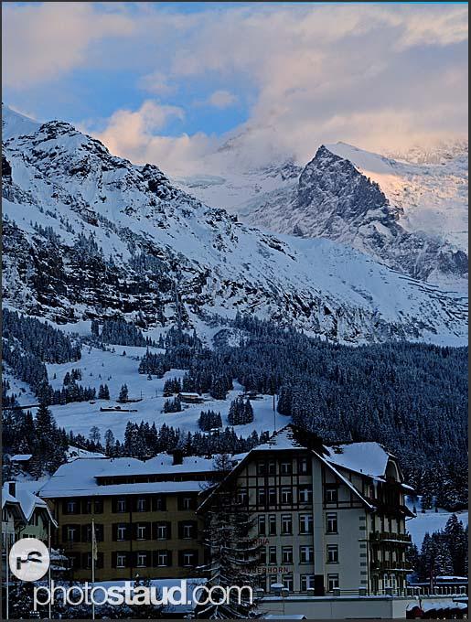 Wengen village with Mt. Jungfrau above, Wengen, Switzerland, Europe