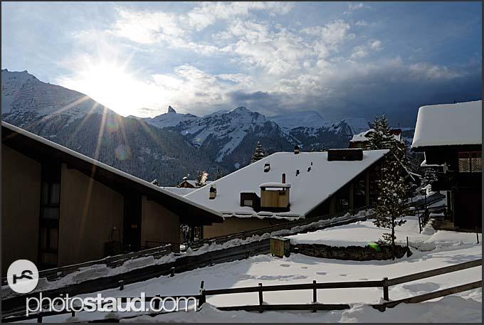 Wengen village and the Swiss Alps, Switzerland, Europe
