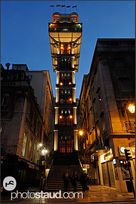 Neo-Gothic Elevador de Santa Justa illuminated by night, Baixa District, Lisbon, Portugal