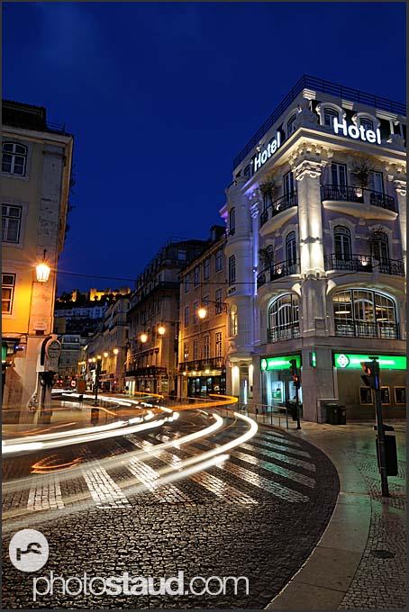 Rossio Square at night, Baixa District, Lisbon, Portugal