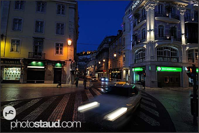 Lisbon by night, Baixa District, Portugal