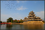 Matsumoto castle surrounded by pond, National Treasure, Matsumoto, Japan