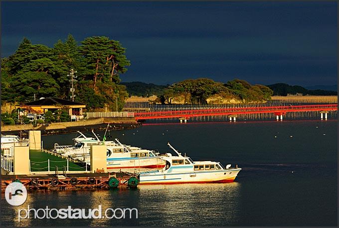 Fishing boats and stormy weather, Matsushima bay, Japan
