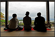 Three Japanese enjoying view of Matsushima bay from Kanrantei teahouse, Japan
