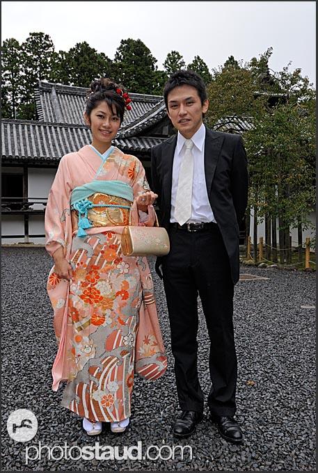 Japanese newlywed couple in Zuiagan-ji temple, Matsushima, Japan
