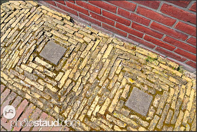 Tiled pavement in the streets of Monnickendam, Holland, Europe