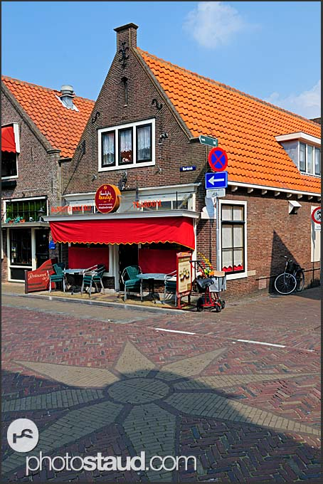 Tiled streets of Monnickendam, Holland, Europe