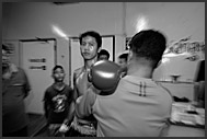 Right hook, Muay Thai, Lumpini Boxing Stadium, Bangkok, Thailand