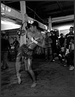 Fighters trading punches during Muay Thai kickboxing fight, Lumpini Boxing Stadium, Bangkok, Thailand