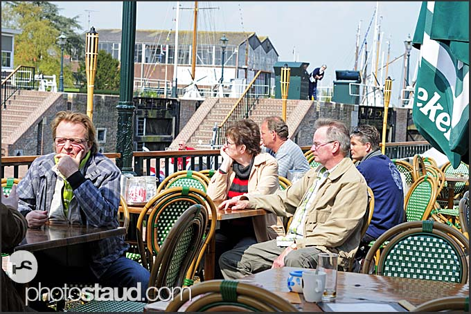 Tourists in a restaurant at sunny day, Holland, Europe